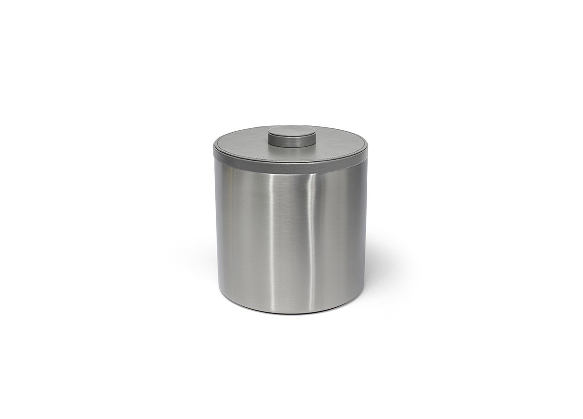 3qt Round Brushed Stainless Ice Bucket - Silver with London Smoke Lid