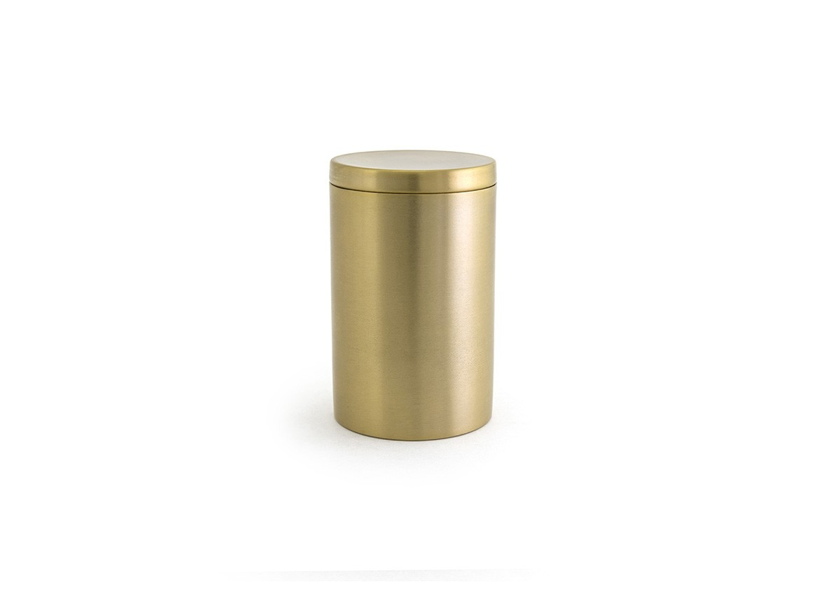 Round Stainless Jar with Lid - Matte Brass with Matte Brass Lid