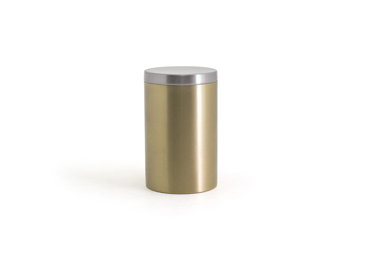 Round Stainless Jar with Lid - Matte Brass with Brushed Stainless Lid
