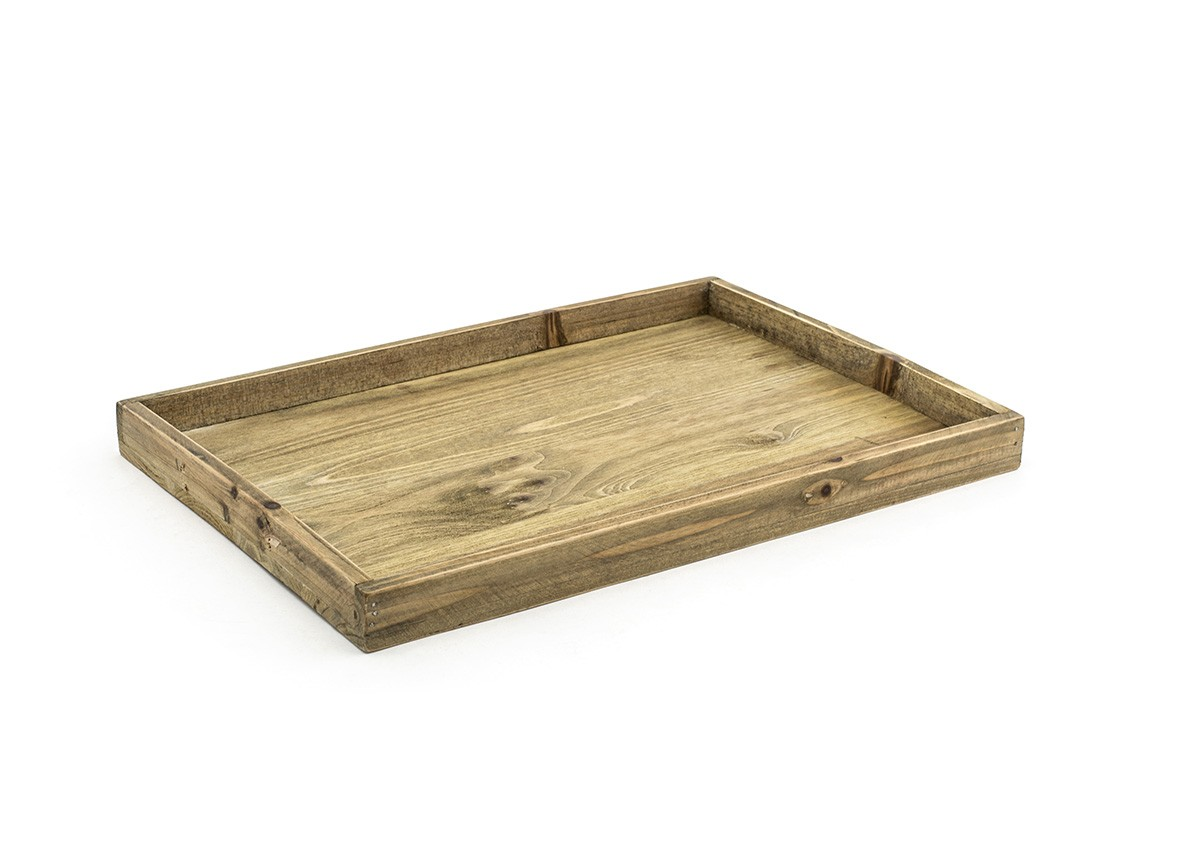 "19"" x 13"" Rustic Wood Tray - Natural"