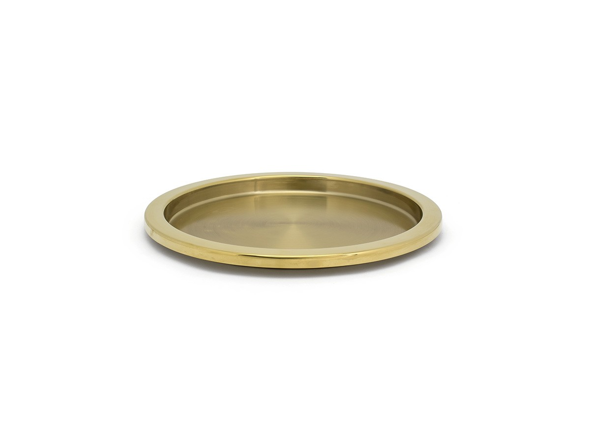 "14"" Round Brushed Stainless Tray - Matte Brass"