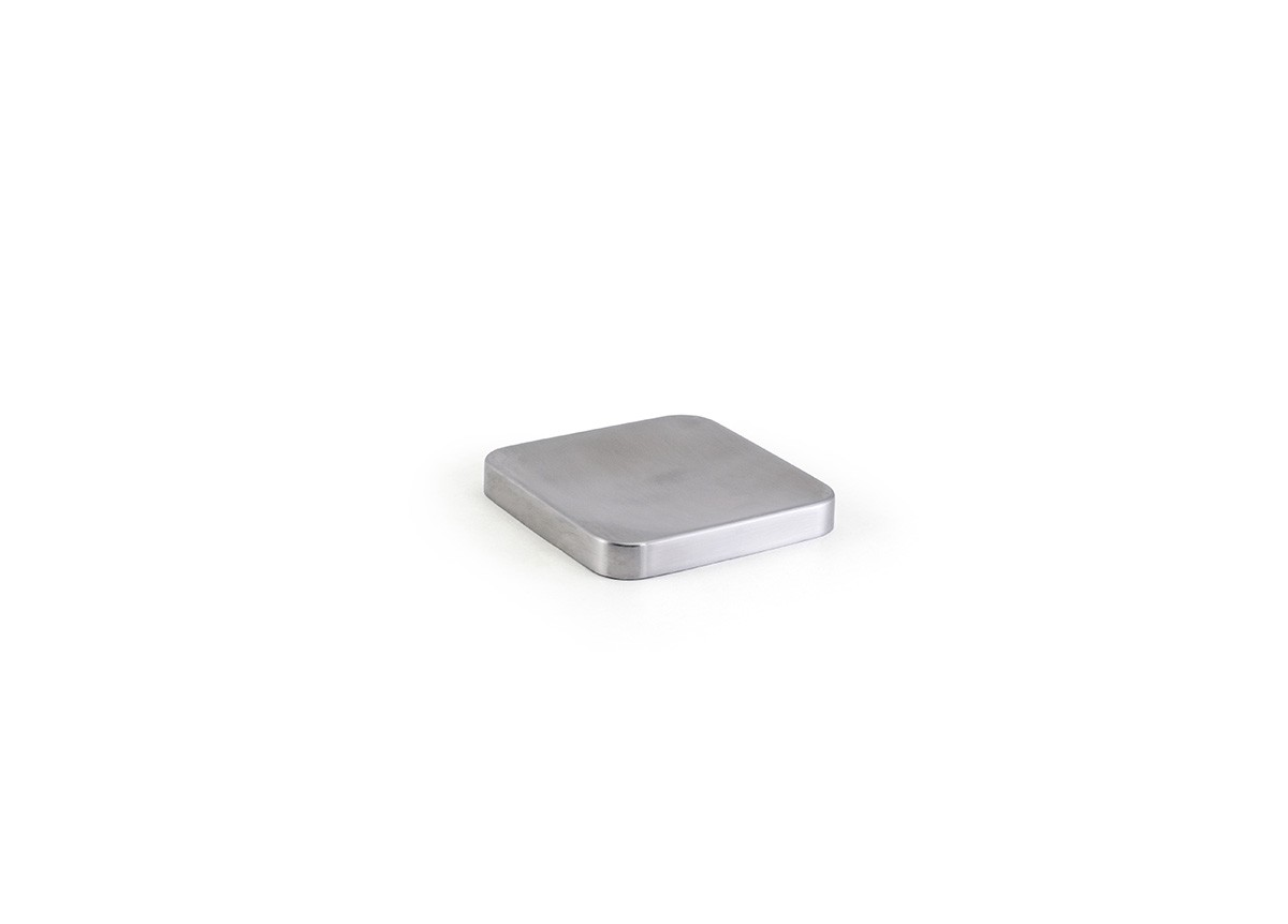 "4"" Square Brushed Stainless Dish - Silver"