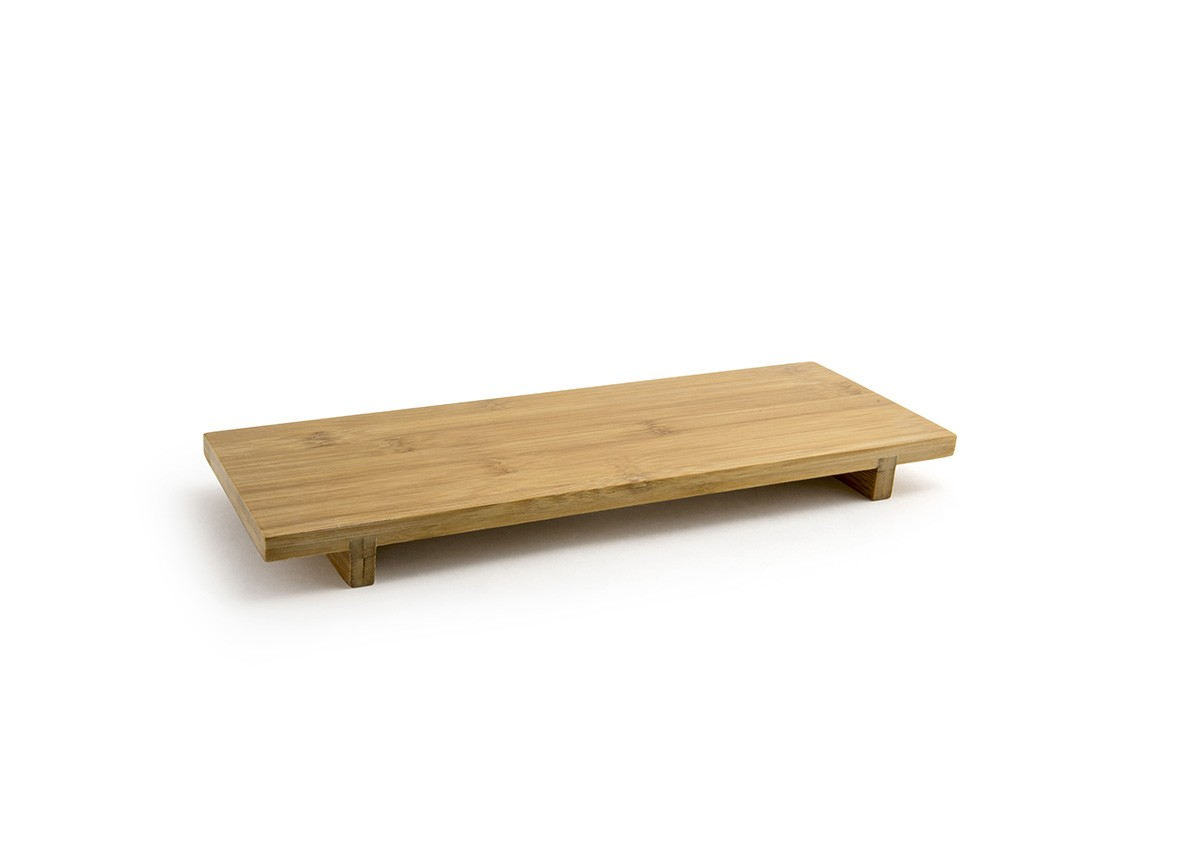 "12.25"" x 4.75"" Bamboo Footed Tray"