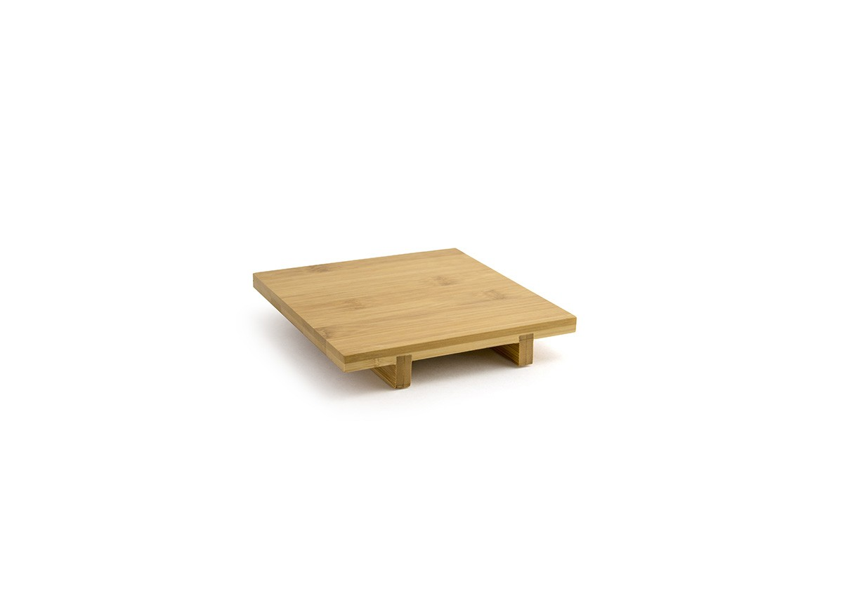 """6"""" Square Bamboo Footed Tray"""