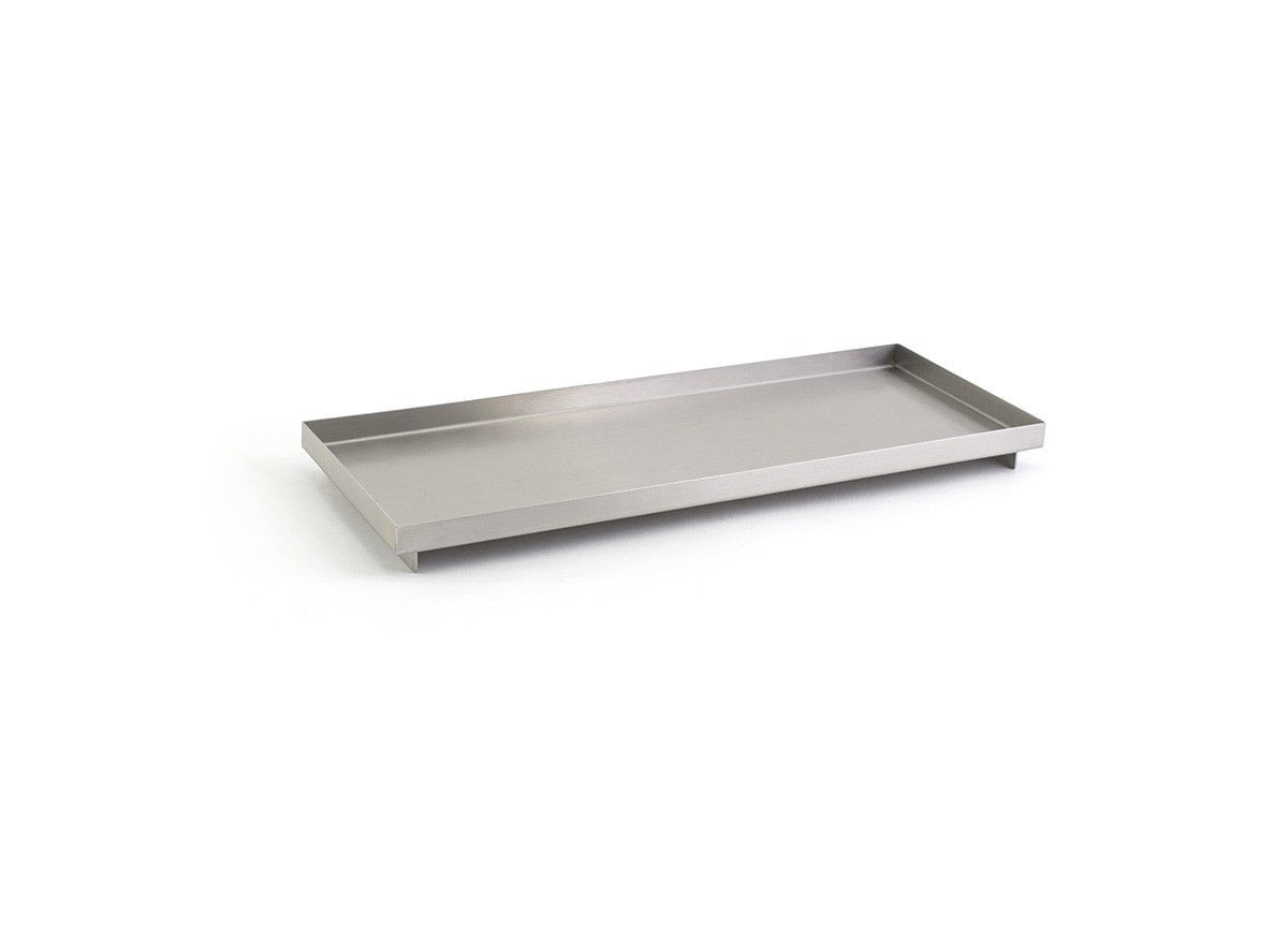 Rectangle SS Footed Tray - Silver