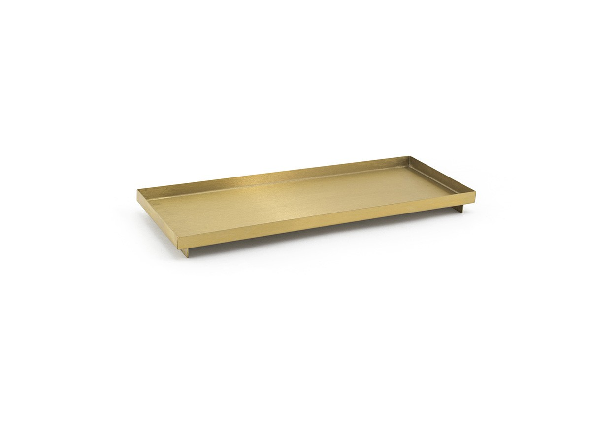 "12.25"" x 4.75"" Brushed Stainless Tray - Matte Brass"