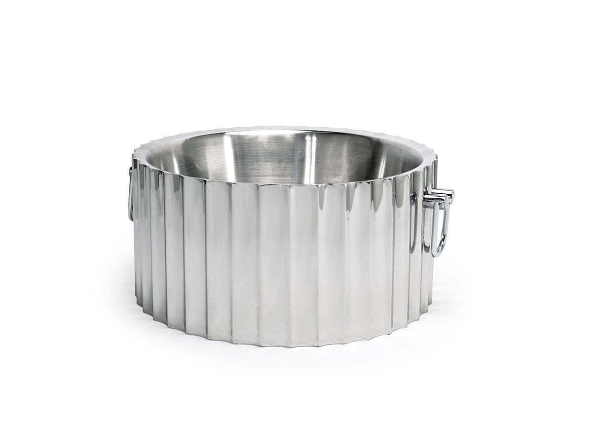 "14.5"" Round Mirrored Stainless Fluted Beverage Tub - 350oz - Silver"