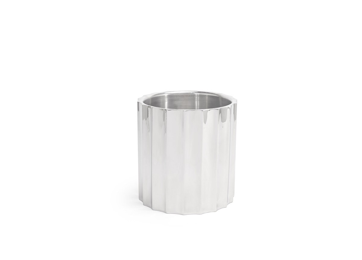 """7.25"""" Round Mirrored Stainless Fluted Wine/Champagne Cooler - 160oz - Silver"""