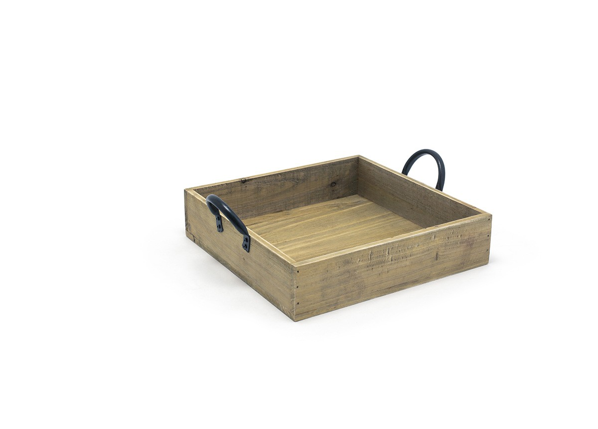 "9.75"" Square Rustic Wood Box - Natural"