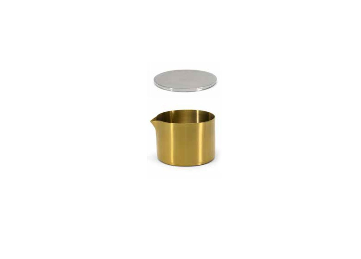 8oz Brushed Stainless Soho Pourer - Matte Brass and Cover
