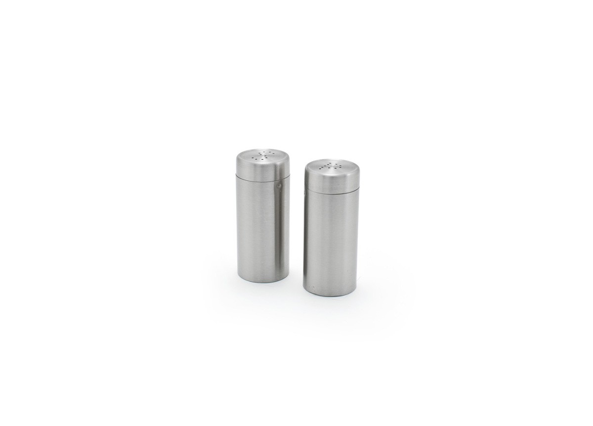 "3"" Round Brushed Stainless Salt & Pepper Set - Silver"