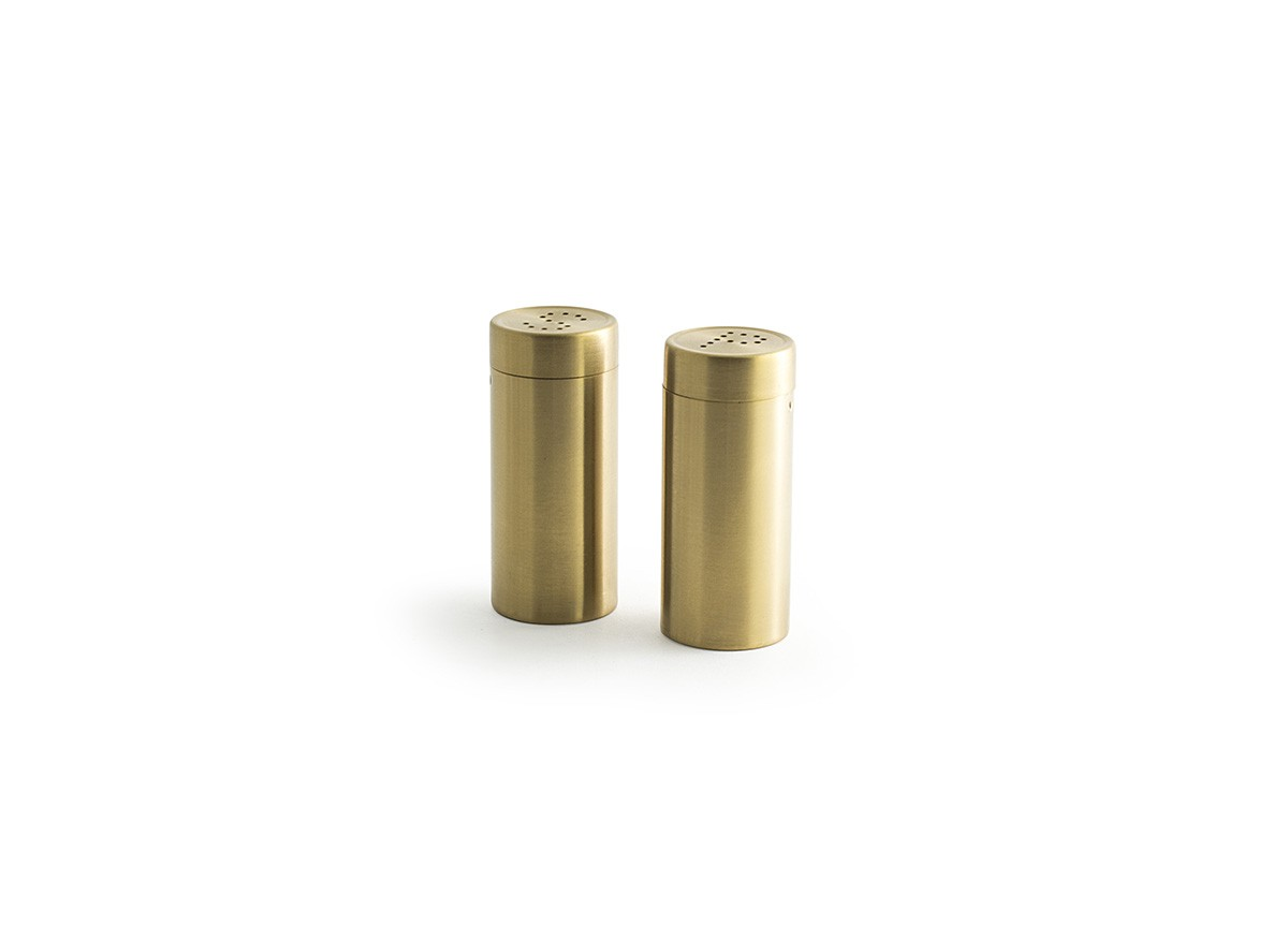 """3"""" Round Brushed Stainless Salt and Pepper Set - Matte Brass"""
