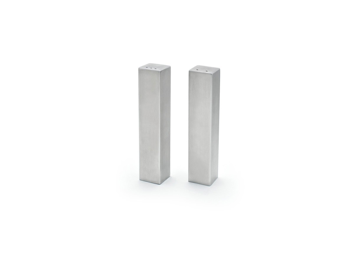 "4.75"" Tall Square Brushed Stainless Salt & Pepper Set - Silver"
