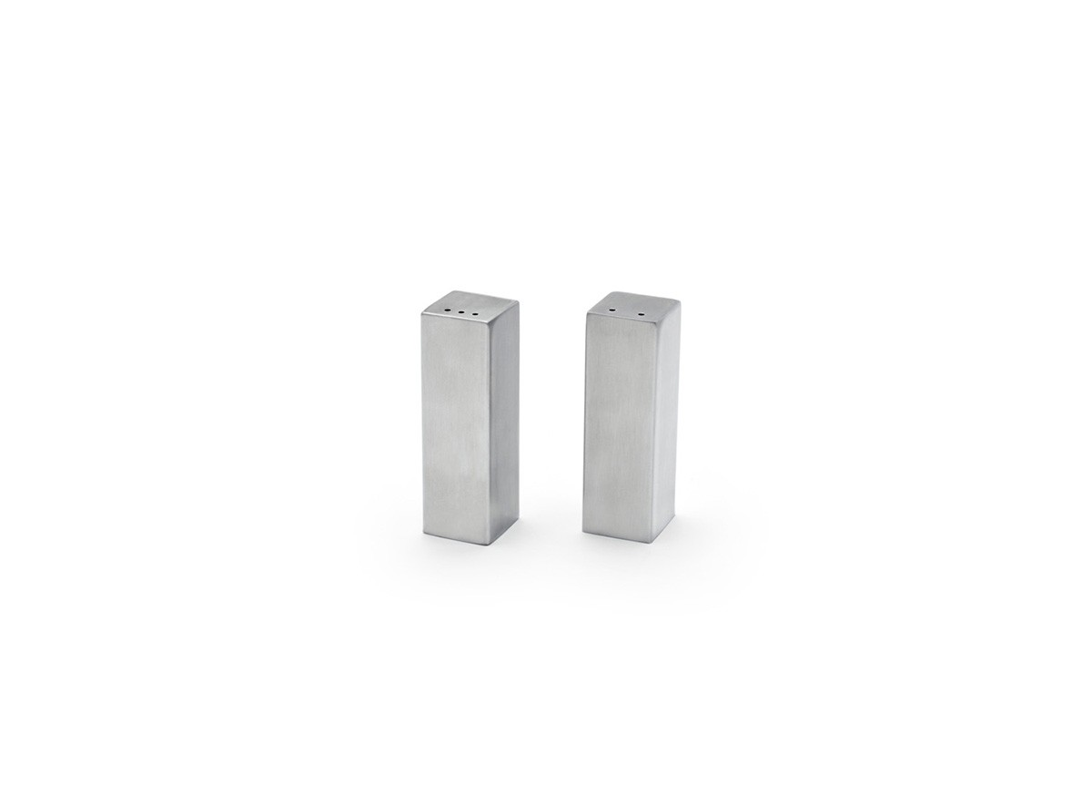 "3"" Tall Square Brushed Stainless Salt & Pepper Set - Silver"