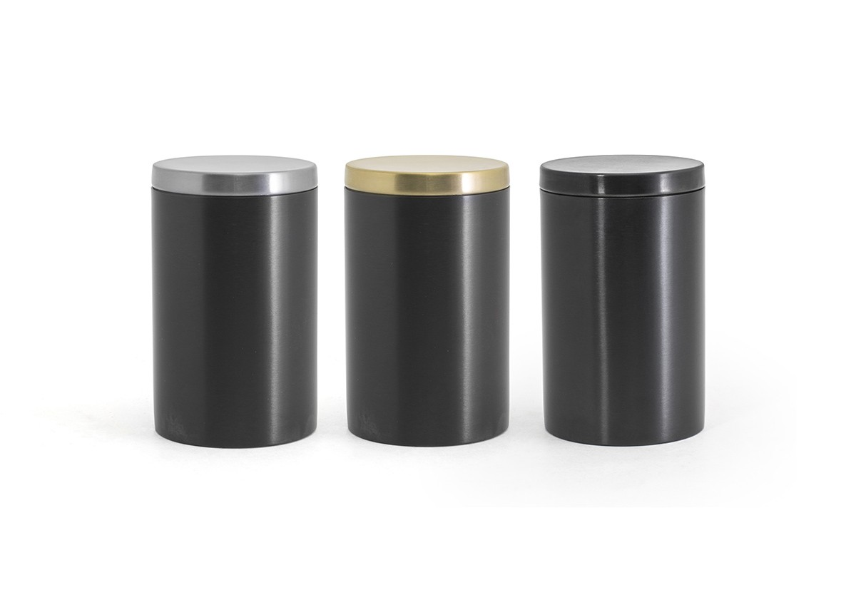 SS Jar with Lid - Matte Black with Color Lid Options