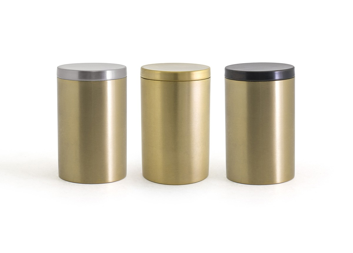 SS Jar with Lid - Matte Brass with Color Lid Options