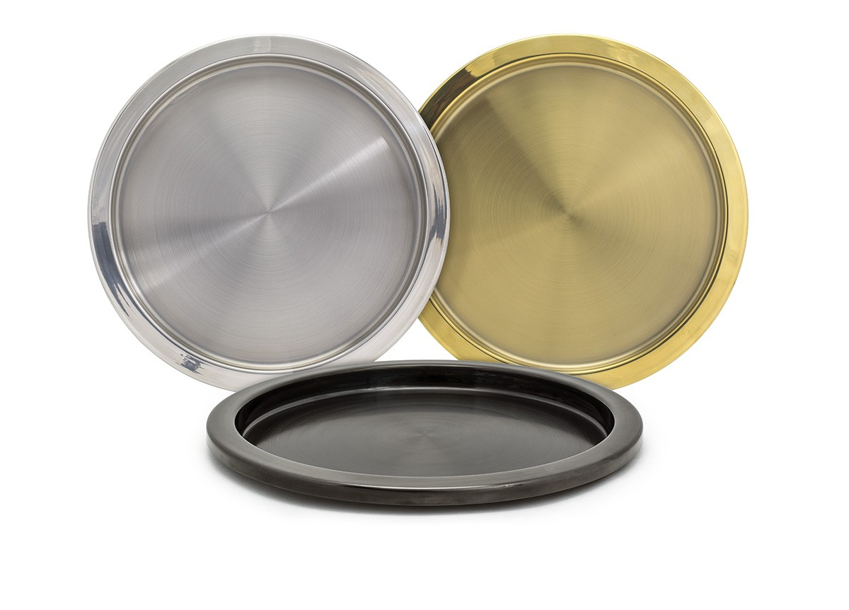 "14"" Round Brushed Stainless Tray"
