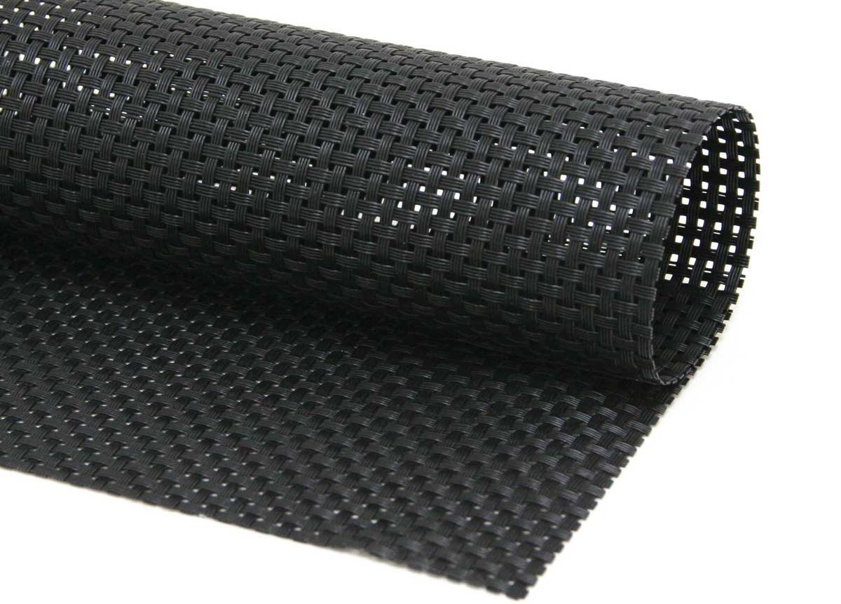 "16"" x 12"" Metroweave Basketweave Mat - Black"
