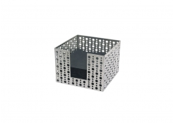 "5.5"" Square Brushed Stainless Dots Napkin Holder - Silver"