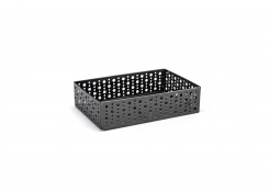 "9"" x 6"" Brushed Stainless Dots Basket - Matte Black"
