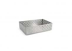 "9"" x 6"" Brushed Stainless Dots Basket - Silver"