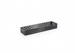 "11"" x 2.75"" Brushed Stainless Dots Basket - Matte Black"