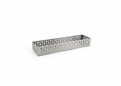 "11"" x 2.75"" Brushed Stainless Dots Basket - Silver"
