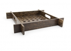 "15.5"" Square Palm Wood Lattice Tray"