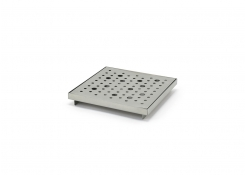 "6"" Square Brushed Stainless Footed Drip Tray - Silver"