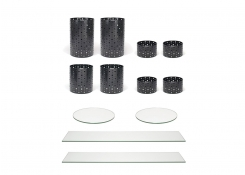 Buffet Essentials - Dots - Clear Glass on Matte Black