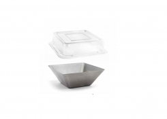 """5.5"""" Square Stainless Mod®  Bowl Antique and Cover"""