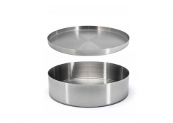"7.5"" Round Brushed Stainless Soho Bowl Silver and Cover"