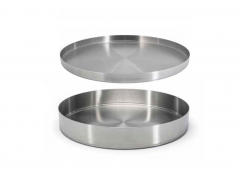 "9"" Round Brushed Stainless Soho Bowl - Silver and Cover"
