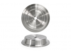 "11"" Round Brushed Stainless Plate Cover – Silver"