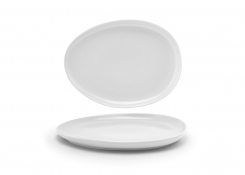 "13"" Oval Tides Low Plate - White"
