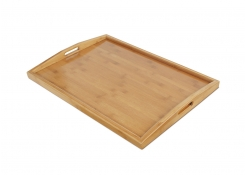 "26"" x 18"" Bamboo Curved Handled Room Service Tray"