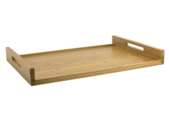 "26"" x 18"" Bamboo Straight Handled Service Tray"