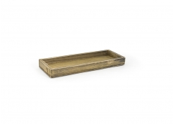 "11.75"" x 4.25"" Rustic Wood Tray - Natural"