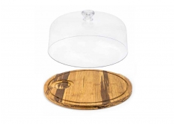 """12"""" Round Reversible Crushed Bamboo Board and cover"""