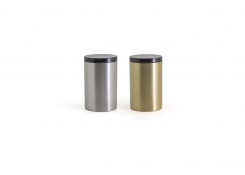 Round Brushed Stainless Jar with Lid