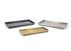 "12.25"" x 4.75"" Brushed Stainless Tray"