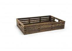 Full Size Palm Wood Basket - Shallow