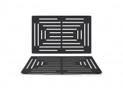 "22"" x 14"" Brushed Stainless Grill Plate - Matte Black"