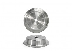 "9.5"" Round Brushed Stainless Plate Cover – Silver"