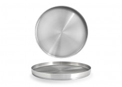 "11"" Round Brushed Stainless Soho Plate – Silver"